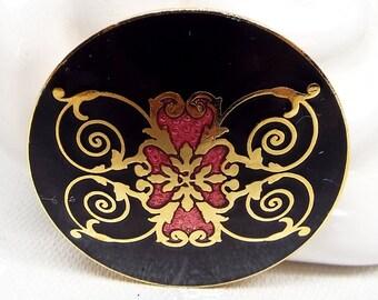 Vintage Cloisonne Black & Pink Enamel Gold Tone Base Ornate Circular Brooch Pin