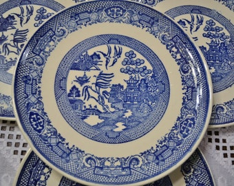 Vintage Blue Willow Dinner Plate Set of 4 Royal China USA Replacement Willow Ware PanchosPorch