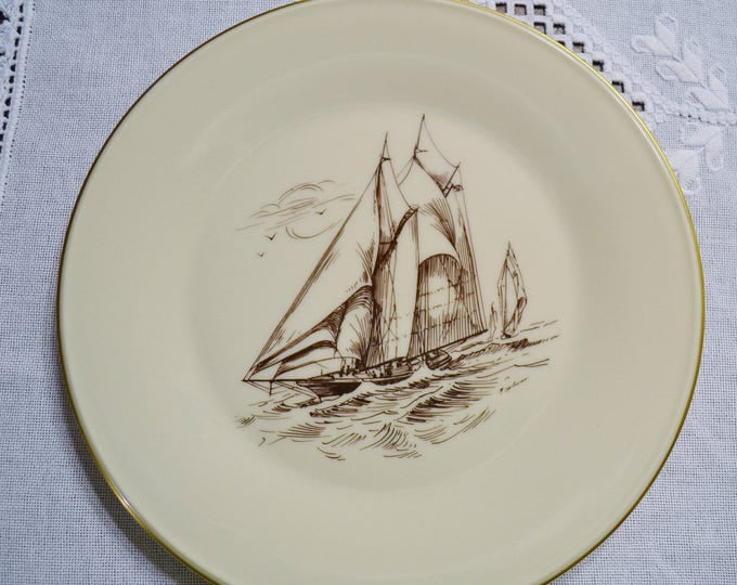 Vintage Lenox China Special Dinner Plate Ship Sailing Brown Cream Replacement PanchosPorch