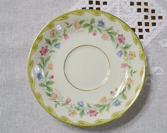 Vintage Noritake Elmhurst Saucer Replacement Green Edge Pink Blue Yellow Flowers Japan Pattern 5202 PanchosPorch