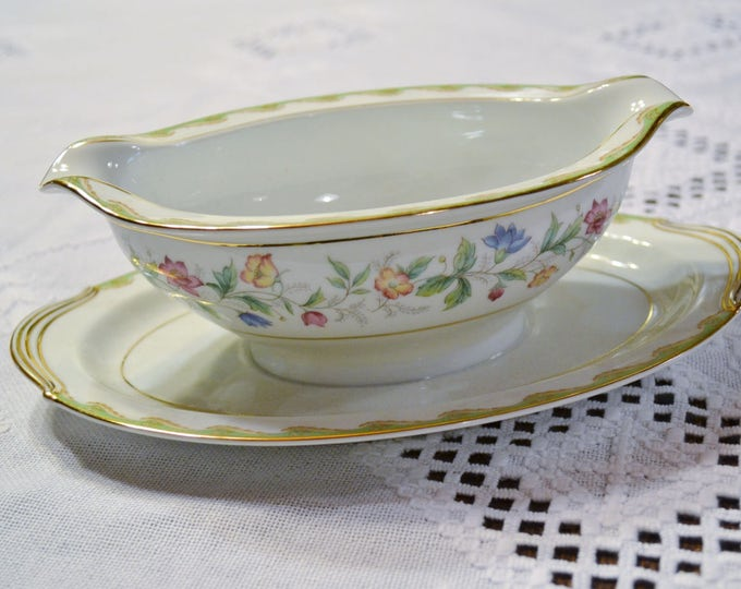 Vintage Noritake Elmhurst Gravy Boat Attached Underplate Drip Plate Green Edge Pink Blue Yellow Flowers  Pattern 5202 PanchosPorch
