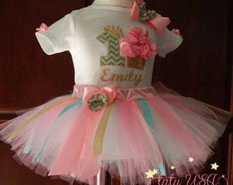 1st birthday, girl outfit,pink and gold,first birthday outfit, turquoise,one year old,baby tutu,girl outfit,pink and gold 1st birthday,dress