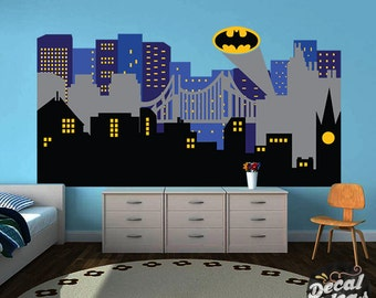 Superhero City Skyline Wall Decal, Nursery Wall Decals Large, Gotham City  Decal, Nursery Part 25