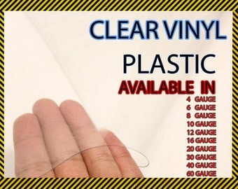 "Clear Vinyl Plastic Fabric 54"" Wide Sold By The Yard"