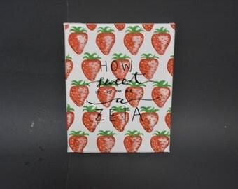 Hand Painted Zeta Tau Alpha Strawberry Canvas