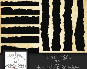 20% OFF Torn Edges Photoshop Brush Set (30 brushes) High Quality 300dpi ~ Instant Download.