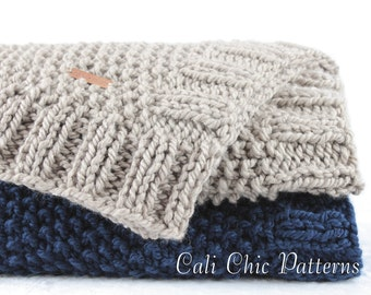 Baby Blanket PATTERN 132 - Manchester Knit Blanket Pattern - Knitting Baby Blanket Pattern #132 - Instant PDF Download