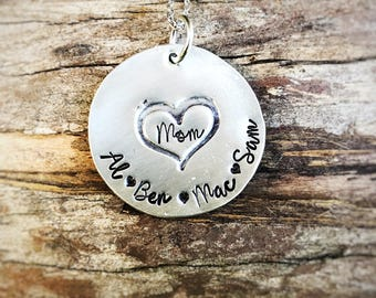 Hand Stamped pewter mommy necklace - grandmother