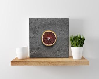 blood orange // food photography print // canvas print // kitchen wall art // dining room wall art // rustic wall art // citrus fruit