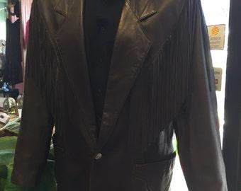 Vintage Continental Men's Leather Fringe Jacket/Men's Fringe Leather Jacket/1970 1980s Mens Leather Jacket