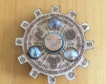 Legend of Zelda Gate of Time Laser Cut Fidget Spinner Baltic Birch and Glass Marbles for Kids or Adults