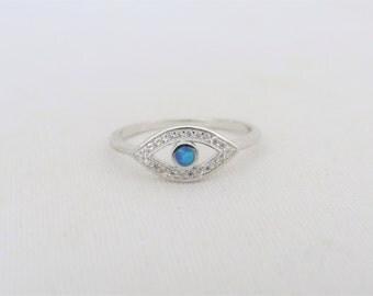 Vintage Sterling Silver Inlay Blue Opal & White Topaz Evil Eye Ring Size 7