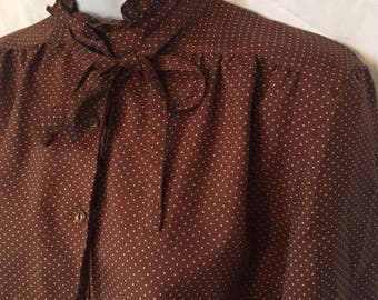 Cute Vintage 70s Polyester Blouse Hippie Brown Polka Dot Edwardian Neck Ruffle and Tie