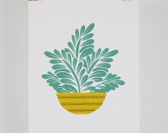 Leafy house plant illustration, digital print A5 contemporary graphic design