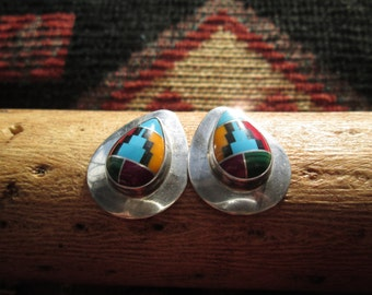 Multi Stone and Sterling Post Earrings