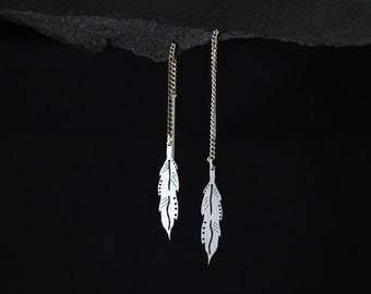 Feather Threader Earrings lasercut into Stainless Steel