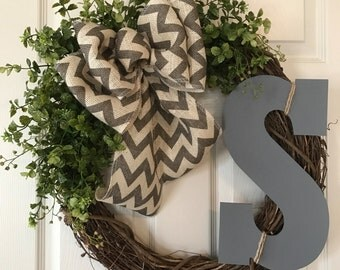 SPRING WREATH,Boxwood Wreath,Summer Wreath,Initial Wreath,Front Door Wreath,Year Round Wreath,Burlap Wreath,Grapevine Wreath,Fall Wreath