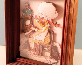 Vintage 3D Paper Art Print Wooden Shadow Box Wall Hanging with Cat & Holly Hobbie Like Girl Playing a Piano. 1970's, Retro, Mod Girl's Room.