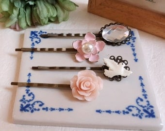 Set of 4 floral bobby hair pin Pink flower white dove spring and summer hair accessory Gift for her