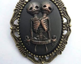 Hand Painted Skeleton Siamese Twins Cameo Brooch Pin
