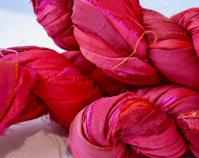 25% off SALE***Recycled Sari Silk Ribbon - Flouro Red