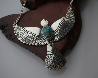 Hand Stamped Sterling Silver Turquoise  Flying Bird Necklace ... Made to Order
