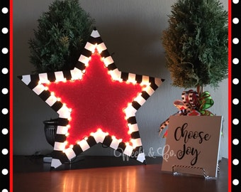 Lighted Star Christmas Tree Topper with Initial