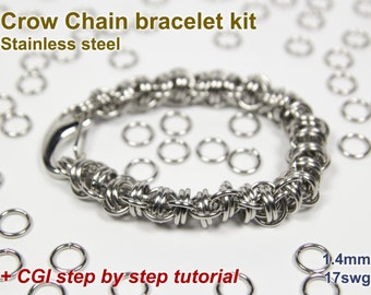Crow Chain Bracelet Kit, Chainmaille Kit, Stainless Steel, Chainmail Kit, DIY Kit, Jump Rings, Crow Chain Tutorial, Chainmaille Tutorial