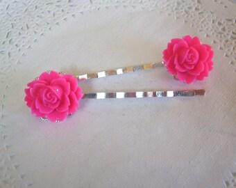 Flower Hair Pin (317) - Pink Flower Hair Pin - Peony Hair Pin - Jeweled Hair pin - Hair Jewelry