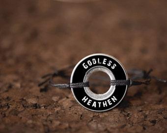 Godless Heathen Resin Coated Washer Bracelet Asatru Wicca Pagan