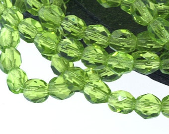 Olivine Green 4mm Firepolish, Faceted Round Firepolished Czech Glass Beads x 50
