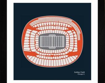 Soldier Field, Chicago Bears, Stadium, Seating Art Print, Football Gift, SCHIF1616