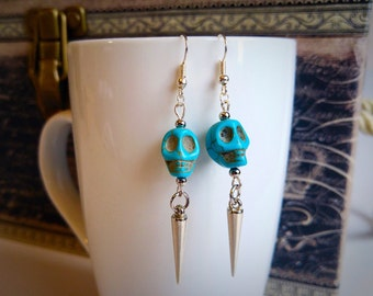 Turquoise skulls with silver spikes dangling earrings, handmade earrings, earrings with skulls, punk earrings, earrings with spikes