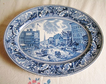Vintage Blue and White Transferware Historic America Oval Platter of Barnum's Museum Made by Johnson Bros in England English China