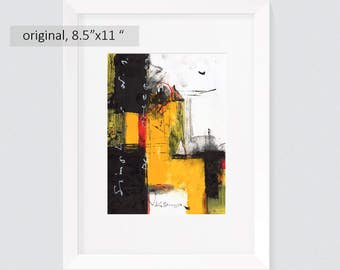 original abstract paintings on paper 8,5 x 11 inch