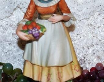 "Andrea #9686 By Sadek Japan Labeled 8"" Peasant Girl W/ Basket Of Fruit Figurine"