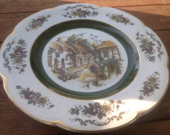 Vintage Ascot Service Plate with thatched roof village scene- Wood and Sons,England