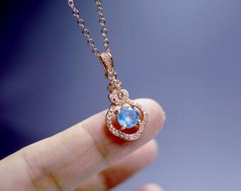 Tiny Topaz Necklace, Swiss Blue Genuine Topaz Necklace, Blue Topaz Pendant, Sterling Silver Topaz Necklace,