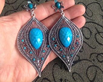 Blue Teardrop Dangle Earrings - Dangle Earrings - Blue Crystal Dangle Earrings - Vintage Dangle Earrings