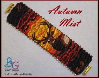 AUTUMN MIST Peyote Cuff Bracelet Pattern