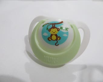 Baby Alive Magnetic Pacifier Customized for MY Baby ALIVE 2010 Interactive Doll - Cute Monkey Mint + White  - Please read description