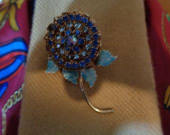 Nicole Mintzes Blue Enamel Rhinestone Filigree Basket Flower Brooch