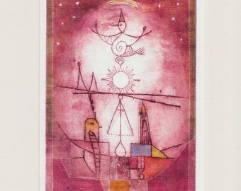 Set of 4 Postcards recycled paper carbon neutral printed in Germany LIBRA  Intaglio
