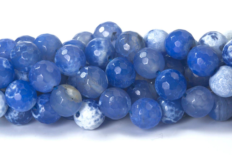 blue agate gemstone faceted agate