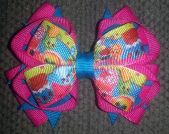 Shopkins Handmade Fuchsia Teal Stacked Boutique Bow
