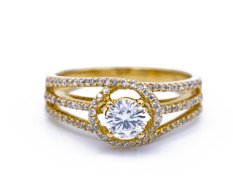 5mm Charles and Colvard Forever One Colorless Moissanite and Diamond 14K Yellow Gold Ring 1 Carat Total Weight