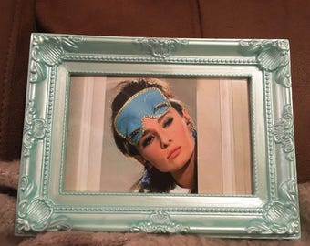 Audrey hepburn colour print in mint green frame 6x4""