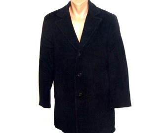 Vintage Van Gils men coat navy blue wool and cashmere