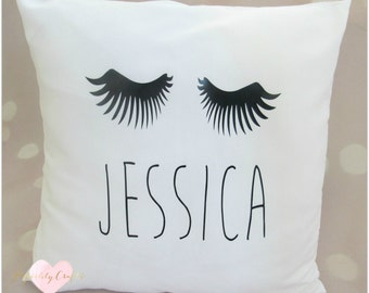 Personalised handmade eyelash cushion with name, great for birthday gift, girls bedroom, make up lover