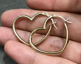 Vintage gold over Sterling silver handmade earrings, semi solid 925 silver heart shaped hoops,  stamped 925 JCM